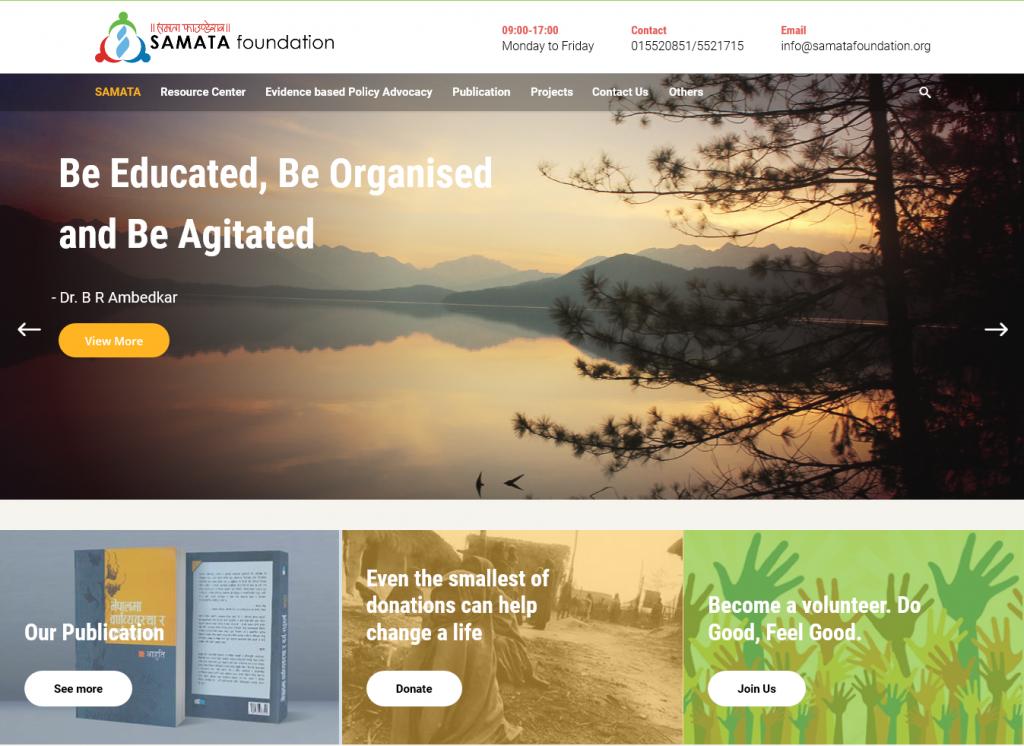 Samata Foundation Screenshot